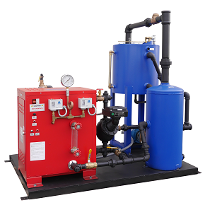 Steam boiler package pre-piped with tanks on skid