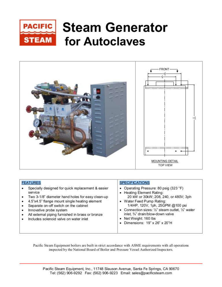 Steam Generator for Autoclaves, Steam Generator for Steam Tunnels